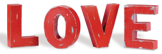 "Industrial Metal Block Letters Spelling, ""LOVE"""
