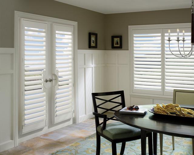 Modern Hunter Douglas  Plantation Shutters with Hidden Tilt  traditional-dining-room