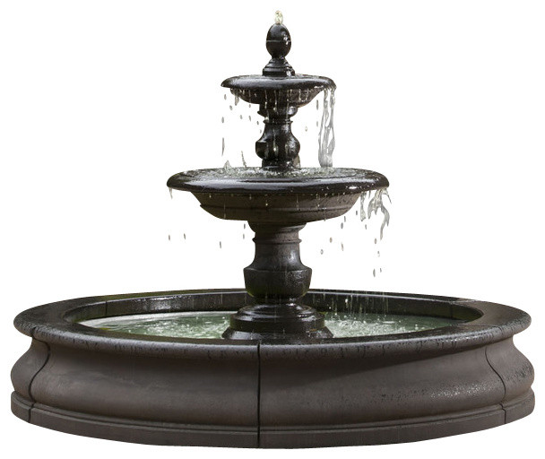 Caterina Outdoor Water Fountain in Basin - Traditional - Outdoor ...