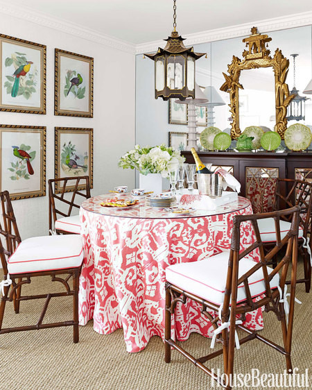 How to make a skirted dining table look Bohemian and not formal?