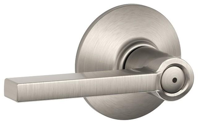 Modern Door Lock Hardware schlage f40vlat619cen latitude privacy lever lockset, satin nickel