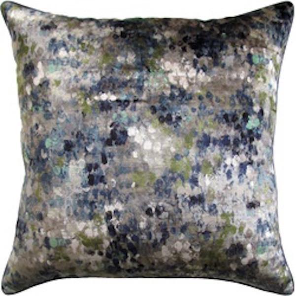 Painted Velvet Turquoise Pillow.