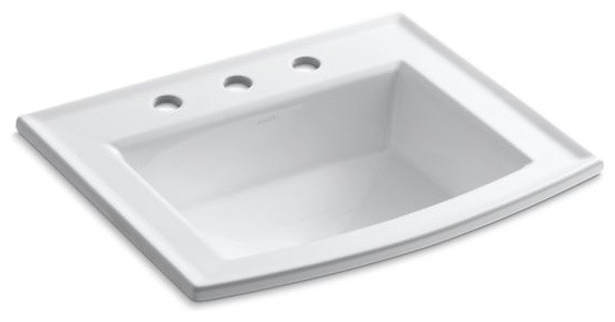 """Kohler Archer Drop-In Bathroom Sink with 8"""" Widespread Faucet Holes, White"""