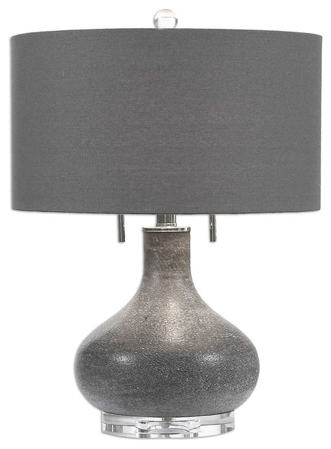 Canelo Distressed Black Glass Lamp By Designer Jim Parsons.