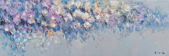 """""""A Rush of Blue and Purple"""" Hand Paint Canvas Artwork; Fine Art; Modern; Floral"""