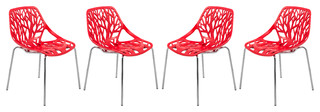 LeisureMod Modern Asbury Dining Chairs With Chromed Legs, Red, Set of 4