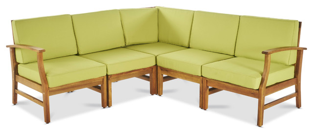 Capri Outdoor 5-Piece Sectional With Green Water Resistant Cushions.