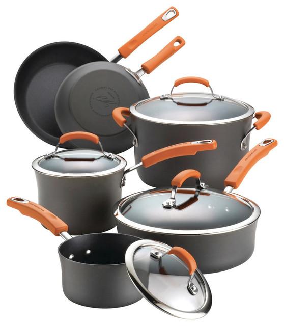 Hard-Anodized Nonstick 10-Piece Cookware Set, Gray, Orange Handles.