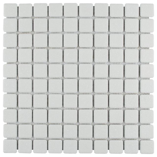 "11.75""x11.75"" Scholar Porcelain Mosaic Floor/Wall Tile, White"