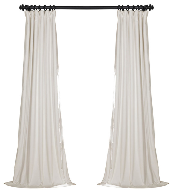 Signature Off White Blackout Velvet Curtain Single Panel - White blackout curtains