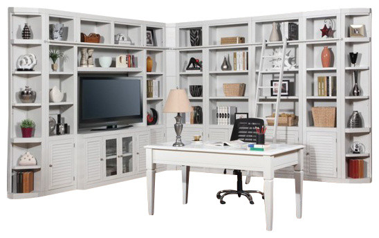 Parker House Boca Corner Wall Bookcase With Desk In Cottage White Beach Style