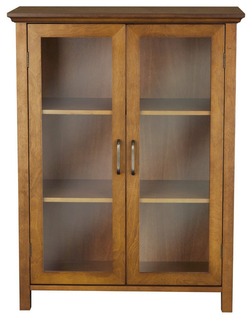 Oak Finish Bathroom Floor Cabinet With 2 Glass Doors And Storage