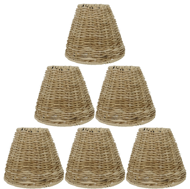 Set Of 6 Natural Grass Chandelier Lamp Shades Clip On 2 75 X5 5 X4 75
