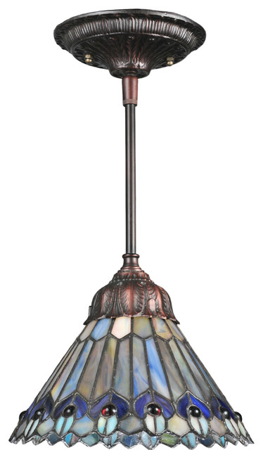 Meyda Lighting 67708 8W Tiffany Jeweled Peacock Mini