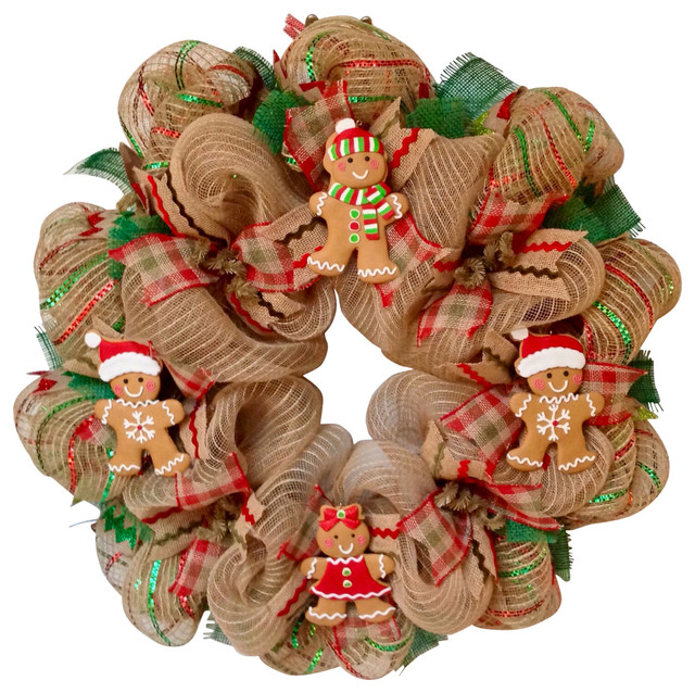 Gingerbread Men Cookies Christmas Handmade Deco Mesh Wreath.