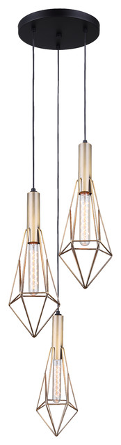 Canarm Greer 3-Light Cord Pendant, Matte Black And Gold Finish.