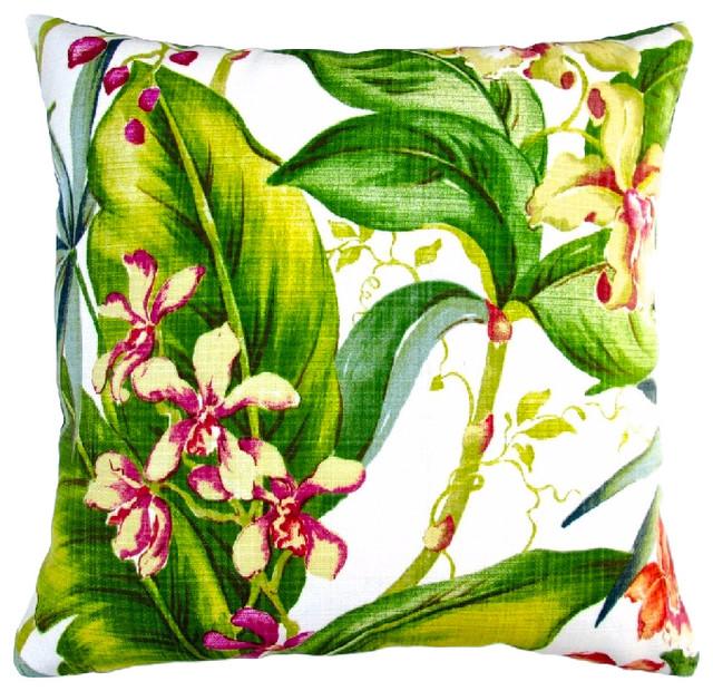 Artisan Pillows Indoor Outdoor 18 Tropical Orchid Throw Pillow Set