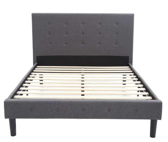 Cambridge Upholstered Headboard And Metal Platform Bed With Wood Slats, Full.