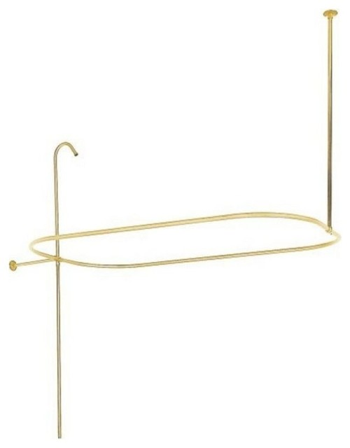 Polished Brass Bathroom Faucet: Vintage Style Shower Ring And Riser Combination, Polished