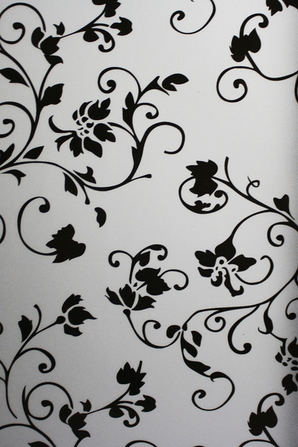 """Noble Black Color Flowers Floral Static Frosted Window Films Stickers 36""""x108""""."""