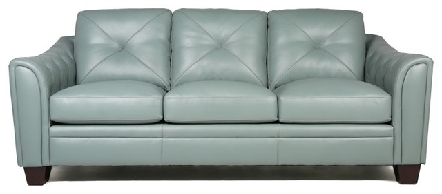 Maklaine Tufted Leather Sofa In Spa Green