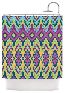 Amanda Lane Boho Chic Purple Yellow Shower Curtain