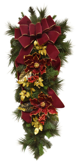 elegant burgundy magnolia christmas swag - Magnolia Christmas Decor