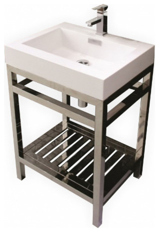 Bathroom Vanities Wholesale tona cisco stainless steel console with white acrylic sink, chrome