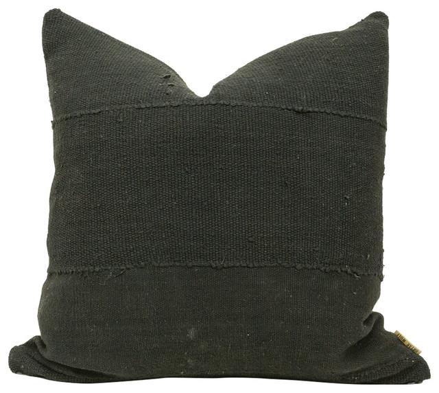 """Bika African Mud Cloth Pillow, 18""""x18"""", Zipper, With Insert"""
