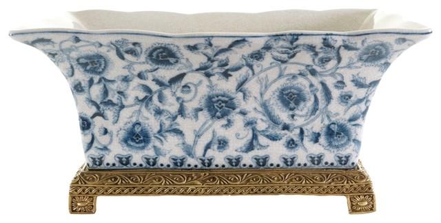 160 & Rectangular Crackle Blue and White Floral Porcelain Flower Pot Brass Ormolu