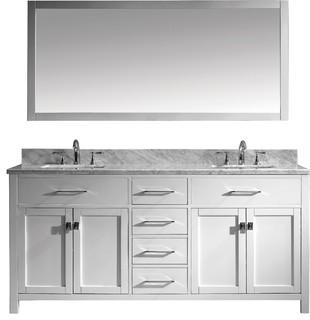 """Caroline 72"""" Double Bathroom Vanity Set White, Marble Countertop"""
