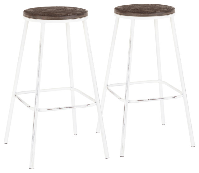 Miraculous Lumisource Clara Round Barstool Vintage White Metal Espresso Bamboo Set Of 2 Machost Co Dining Chair Design Ideas Machostcouk