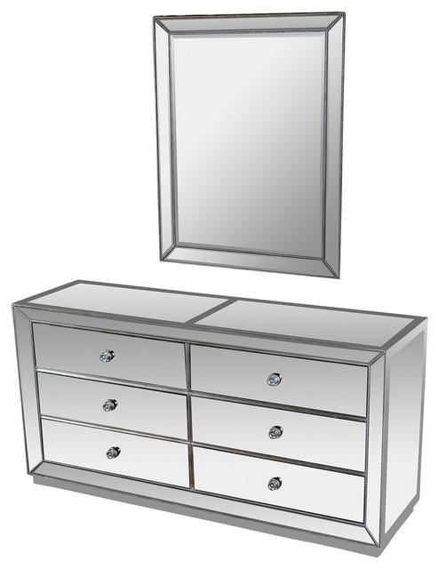 Jameson Silver Mirrored Bedroom Dresser, Mirrored Furniture Set