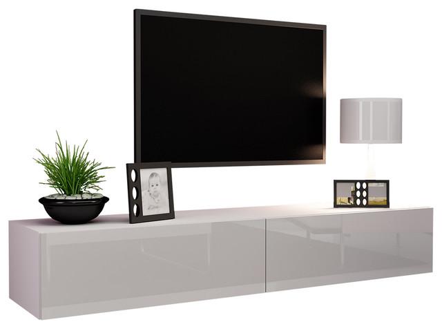 Vigo High Gloss Tv Stand, White.