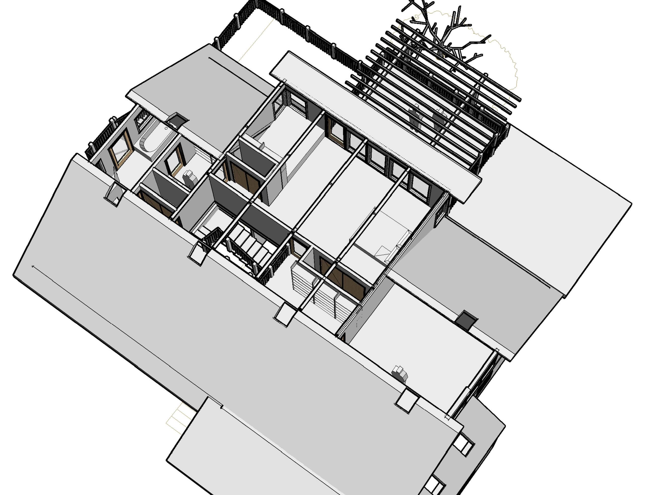 Birdseye View showing upper floor master suite