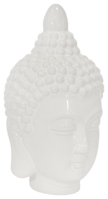 Sagebrook Home Ceramic 10 Buddha Head White Asian Garden Statues And Yard Art By Sagebrook Home Houzz
