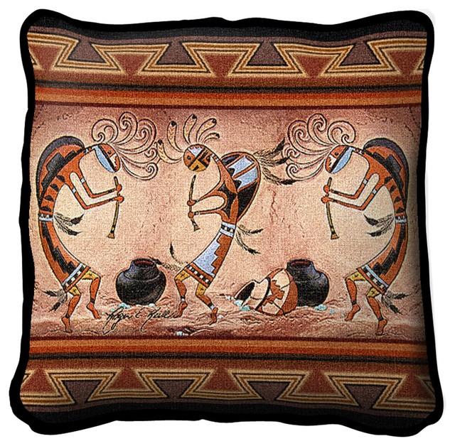 Kokopelli Pot Dance Pillow.