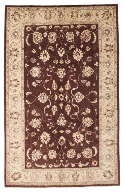 Oushak Wool Area Rug Brown 6x9 Traditional Area Rugs