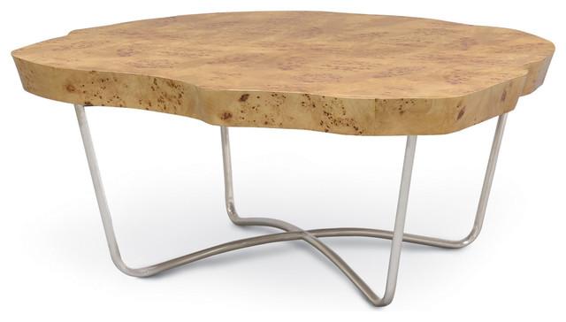 Crete Olive Ash Burl Industrial Loft Live Edge Coffee Table