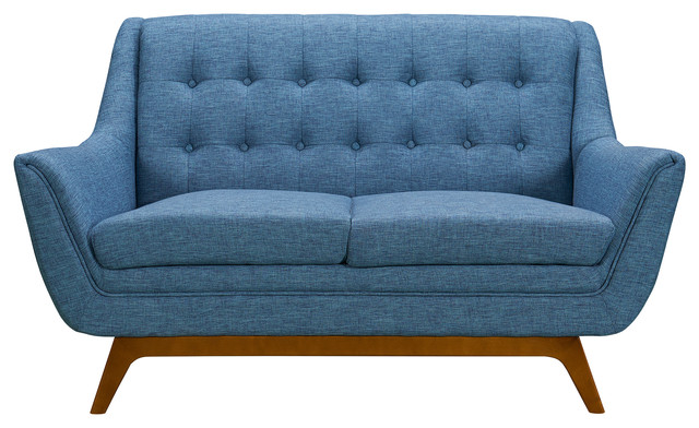 Prime Janson Mid Century Loveseat Champagne Wood Finish And Blue Fabric Squirreltailoven Fun Painted Chair Ideas Images Squirreltailovenorg