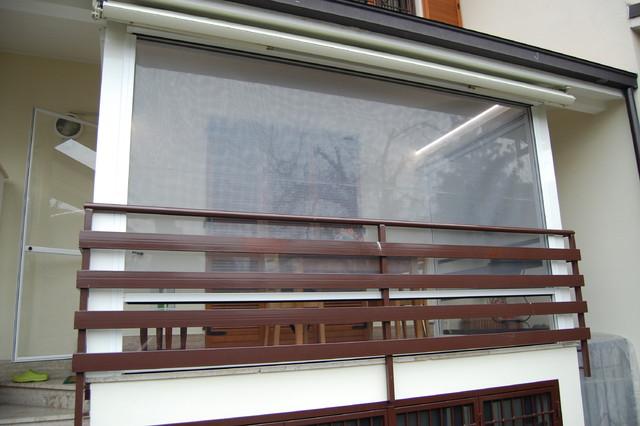 Chiusura Balcone con tende cristal trasparente e zanzariere vista ...