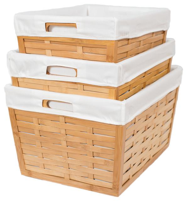 Bird Rock 3-Piece Bamboo Nesting Basket Set