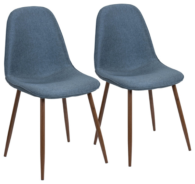 Pebble Mid Century Modern Dining/Accent Chair, Walnut And Blue, Set Of