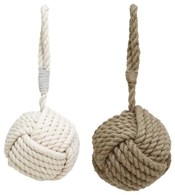 Nautical Rope Ball 2 Piece Doorstop Set