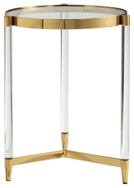 Glam Modern Clear Rods Glass Gold Accent Table, Round Pedestal Side.