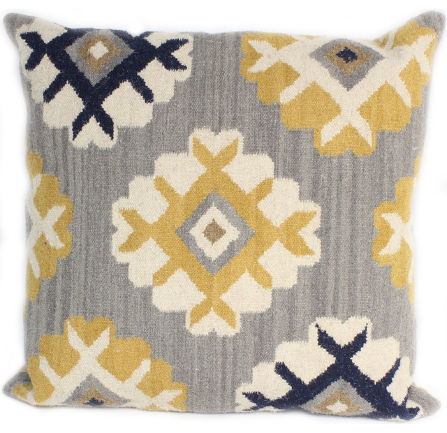 Bashian Seldon Gray Pillow, 2&x27;x2&x27;.