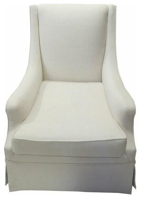 Ordinaire White Skirted Club Chair