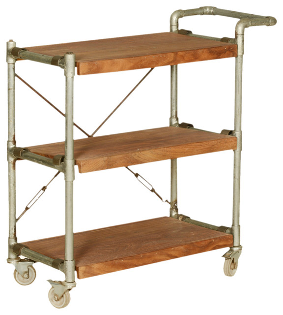 Industrial Mango Wood Amp Iron 3 Tier Rolling Tea Cart With