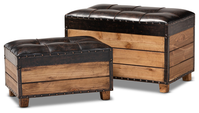 Sensational Marelli Dark Brown Faux Leather 2 Piece Wood Storage Trunk Ottoman Set Gmtry Best Dining Table And Chair Ideas Images Gmtryco