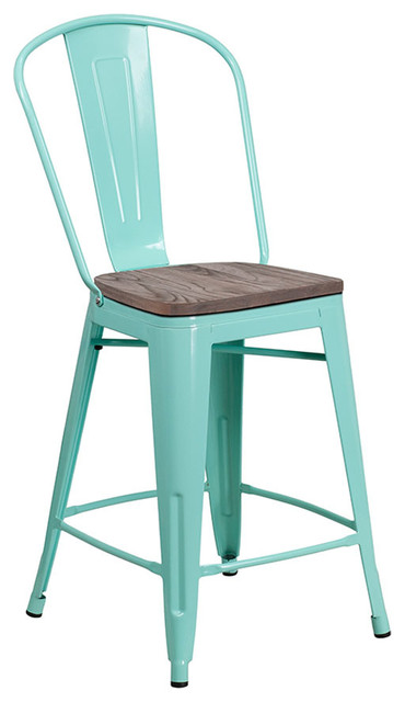 Stupendous Offex 24 High Metal Counter Height Stool With Back And Wood Seat Mint Green Machost Co Dining Chair Design Ideas Machostcouk